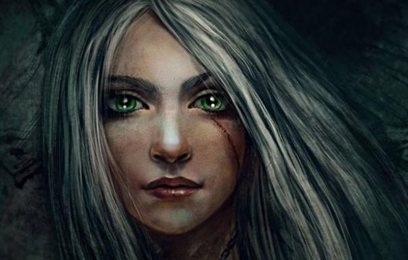 Picture eyes, girl, face, hair, fantasy, art, scar, ash, Swallow, CRIS, Cirilla Fiona Elen Riannon, Ciri, ...
