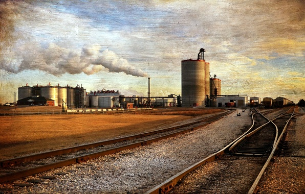 Picture style, background, rails, railroad, factory