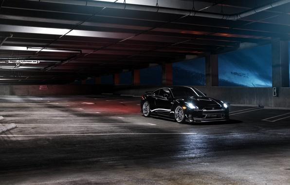 Picture black, before, Parking, Nissan, GT-R, black, Nissan, front, R35