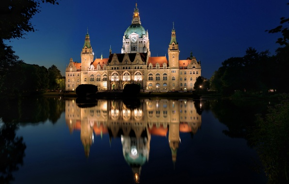 Picture trees, night, lights, lake, reflection, Germany, Palace, Hannover, Hanover, New Town Hall, New Town Hall