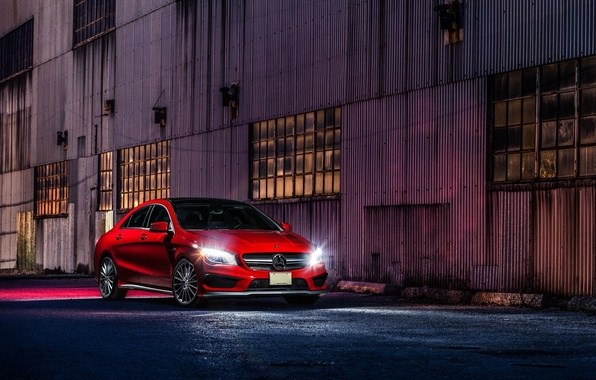 Picture Mercedes-Benz, Red, Car, Front, AMG, CLA45, Ligth, Nigth