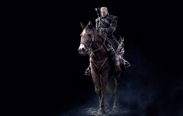 Picture Horse, Sword, Warrior, Beard, Armor, The Witcher, The Witcher, Geralt, Rider, CD Projekt RED, The ...