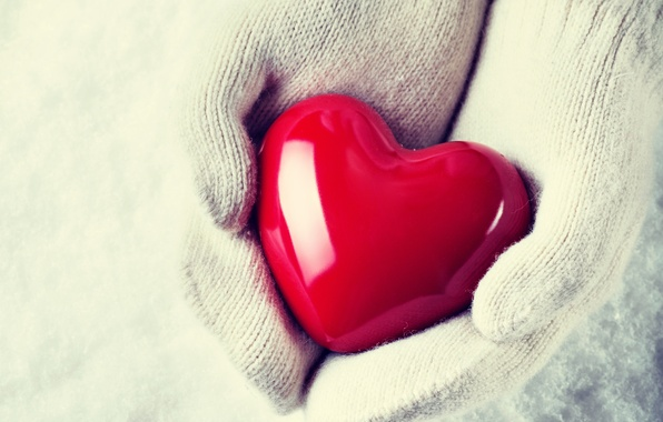Picture winter, snow, love, heart, hands, mittens