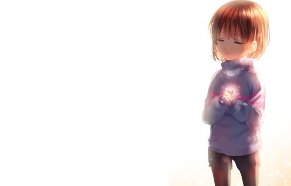 Picture girl, anime, art, heart, sasucchi95, undertale, frisk