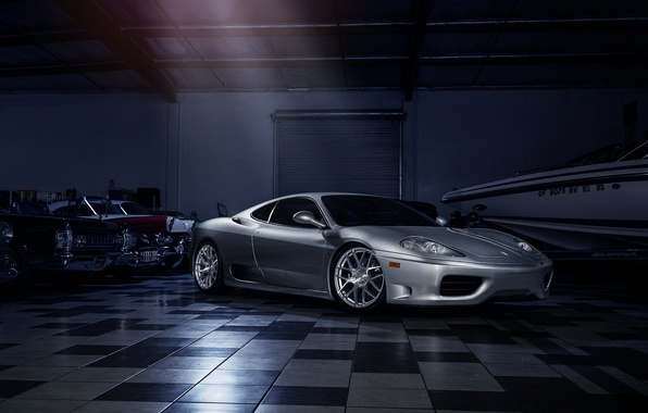 Picture Ferrari, 360, Front, Modena, Supercar, Silver, Wheels, Before, Garde