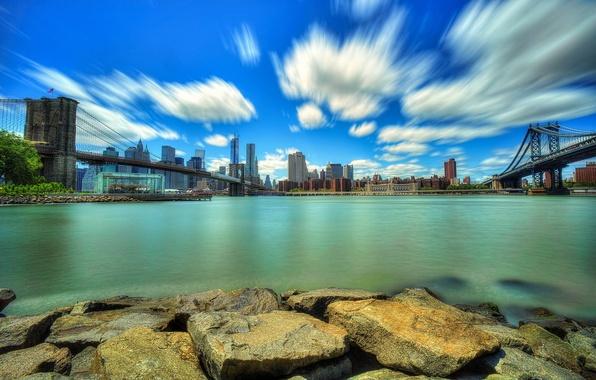 Picture the city, river, stones, skyscrapers, bridges, USA