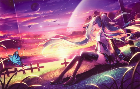 Picture girl, sunset, lake, butterfly, planet, art, vocaloid, hatsune miku, sitting, tidsean