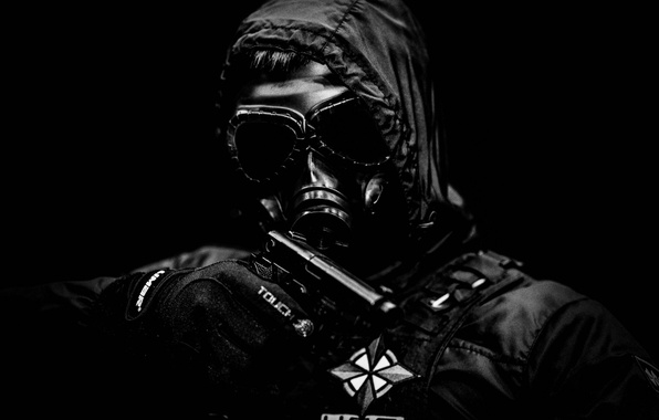 Picture gun, weapons, jacket, hood, gas mask, male