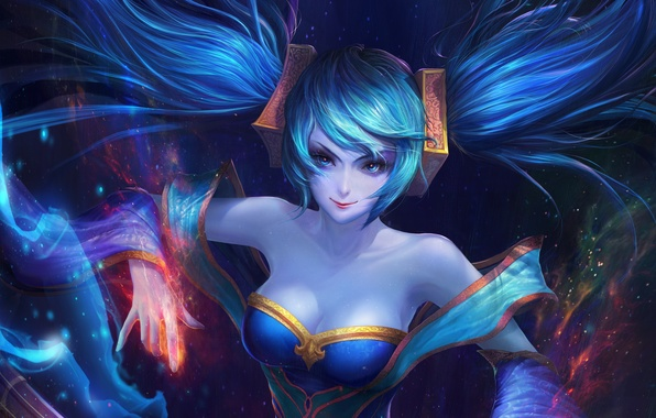 Picture girl, art, lol, League of Legends, sona, Maven of the Strings, moba
