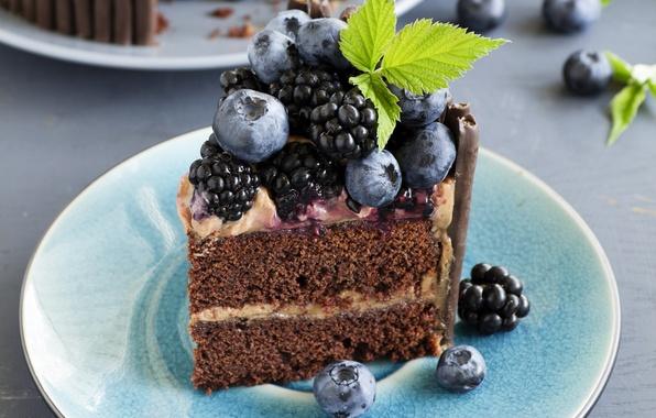 Picture blueberries, cake, mint, cream, cakes, BlackBerry
