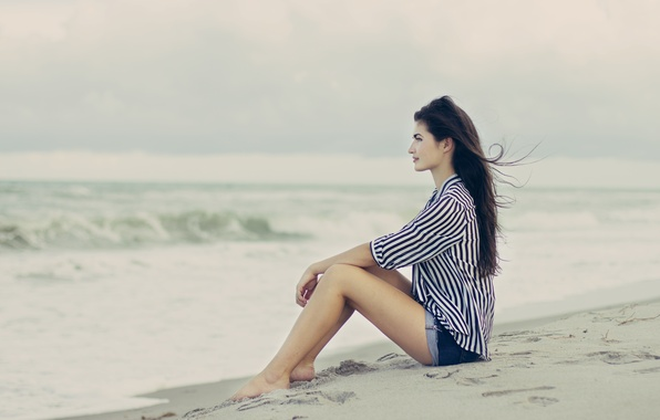 Picture sand, beach, girl, pose, the wind, brunette, profile, sitting