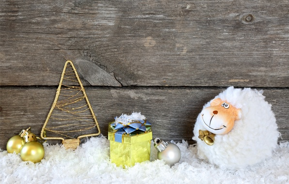 Picture snow, holiday, toys, New Year, goat, wood, New Year, holiday, decoration, goat, 2015