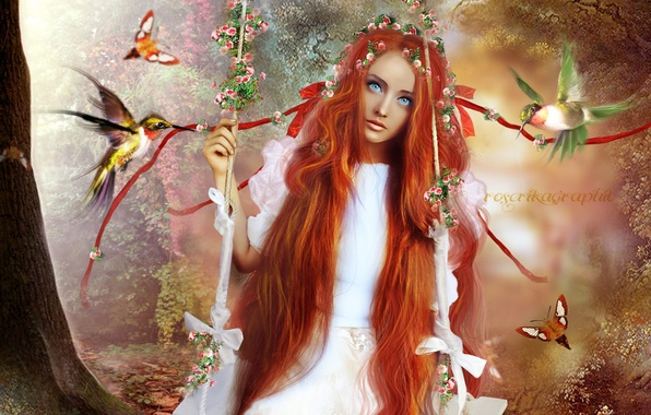 Picture look, girl, trees, butterfly, flowers, birds, face, swing, hair, art, red, blue eyes, long