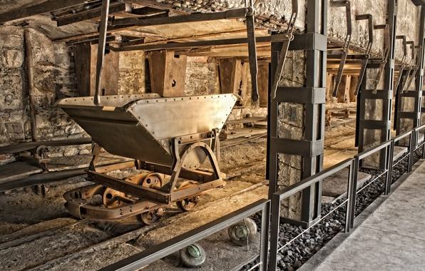 Picture metal, tunnel, rail, mine, mining