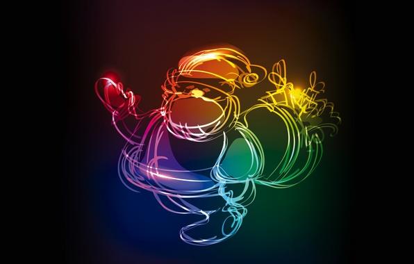 Picture colors, Christmas, christmas, neon, xmas, santa
