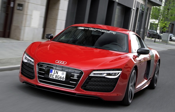 Picture red, Audi, Prototype, supercar, the front, handsome, e-Tron