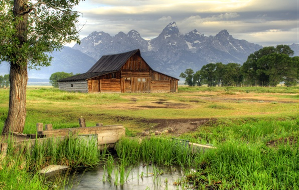 Picture grass, trees, mountains, house, the reeds, stream, valley, USA, Wyoming, estate, Grand Teton National Park, …