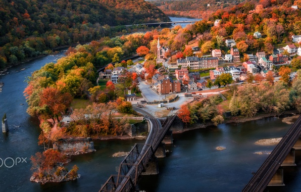 Picture autumn, the city, river, road, USA, town, the village