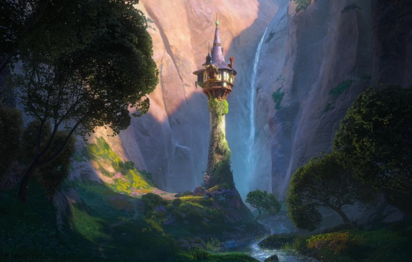 Picture trees, flowers, mountains, castle, tower, valley, spire, Tangled, Complicated story, Princess Rapunzel, Rapunzel