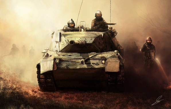Picture fog, weapons, art, soldiers, tank, military, invasion