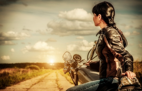 Picture road, girl, sunset, motorcycle