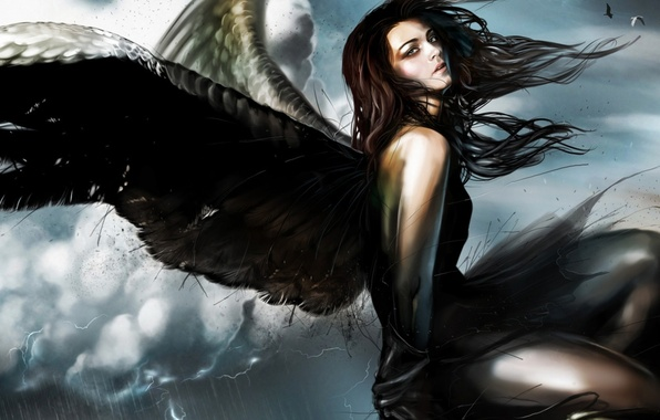 Picture girl, fiction, wings, angel, fantasy