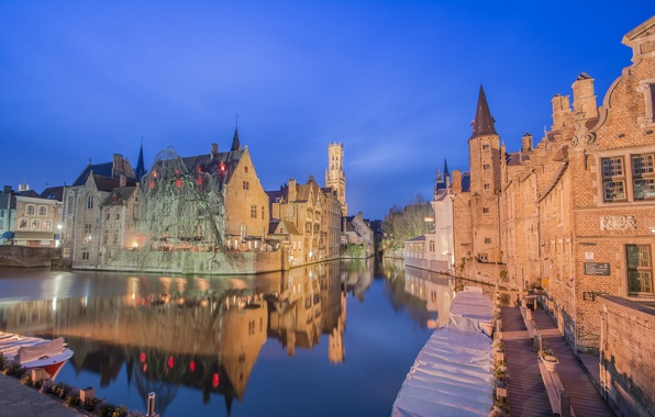 Picture night, lights, boat, home, channel, Belgium, Bruges