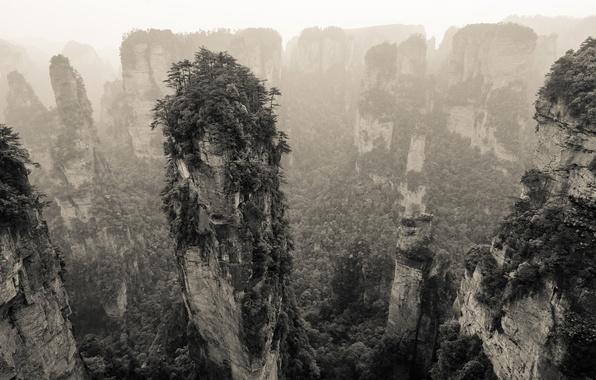 Picture mountains, nature, rocks, vegetation, panorama, China