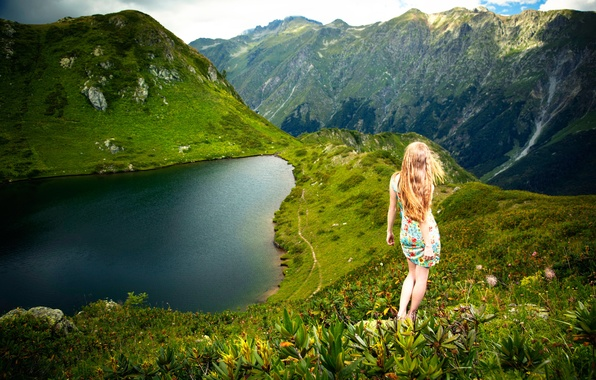 Picture girl, mountains, view