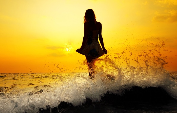 Picture sea, wave, water, girl, the sun, sunset, squirt, river, background, Wallpaper, mood, woman, hair, wave, …