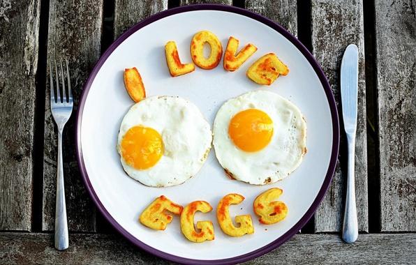 Picture the inscription, widescreen, Wallpaper, food, eggs, knife, wallpaper, plug, scrambled eggs, widescreen, background, eggs, full …