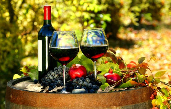 Picture autumn, leaves, wine, red, bottle, glasses, grapes, barrel, grenades