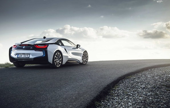 Picture road, the sun, clouds, wheel, back, BMW i8