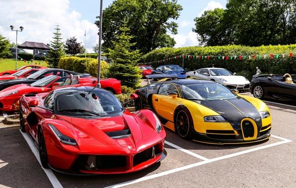 Picture Bugatti, Parking, Veyron, Ferrari F430, supercars, LaFerrari, Oakley Design