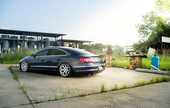 Picture volkswagen, wheels, blue, Volkswagen, passat, Passat, rearside