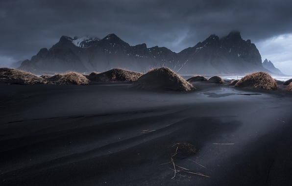 Picture the sky, grass, clouds, mountains, Iceland, Vestrahorn, Stockksness, black sand