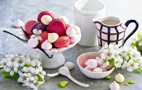 Picture flowers, cookies, cake, dessert, cakes, sweet, Apple, dessert, cookies, macaron, macaron, baking