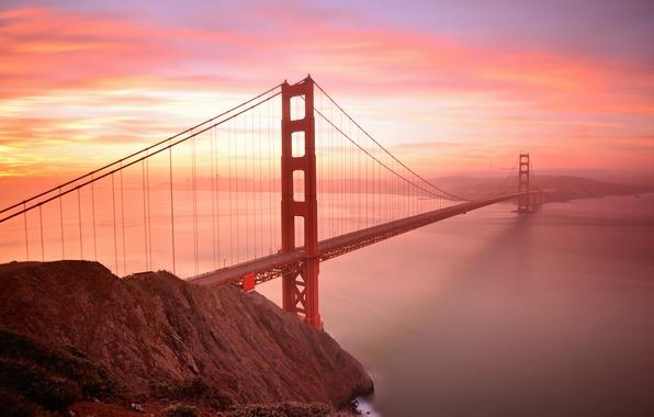Picture the sky, clouds, sunset, bridge, Bay, San Francisco, Golden gate