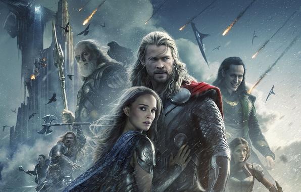 Picture fiction, Natalie Portman, Natalie Portman, comic, Thor, Chris Hemsworth, Chris Hemsworth, Jaimie Alexander, Loki, Tom …
