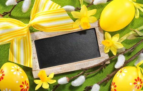 Picture flowers, eggs, Easter, Verba, flowers, daffodils, spring, Easter, eggs