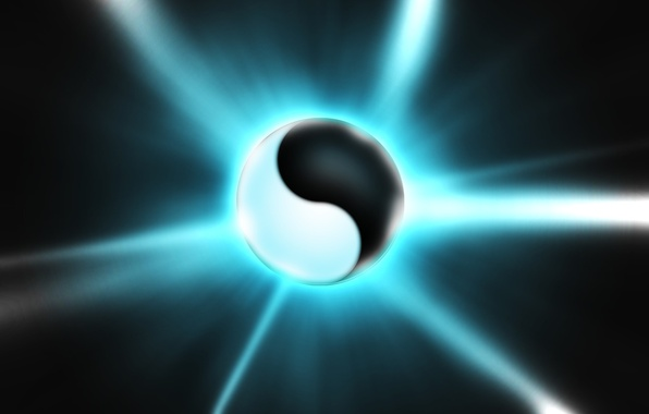 Picture rendering, white, ball, black, Yin-Yang
