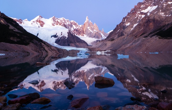 Picture snow, mountains, lake, Argentina, Patagonia, Lago Torre, Los Glaciares National Park