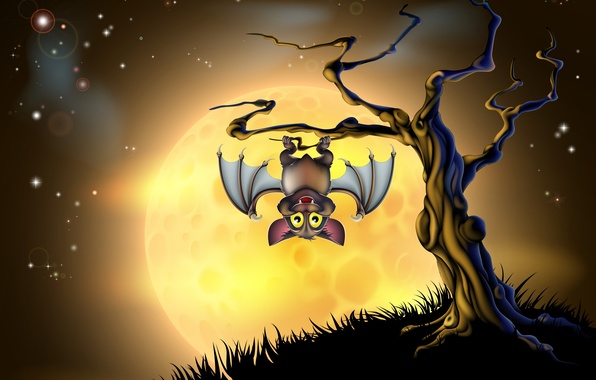Picture tree, Halloween, scary, halloween, tree, bat, creepy, creepy, full moon, full moon, scary, bats