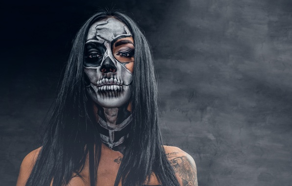 Picture woman, model, makeup, day of the dead