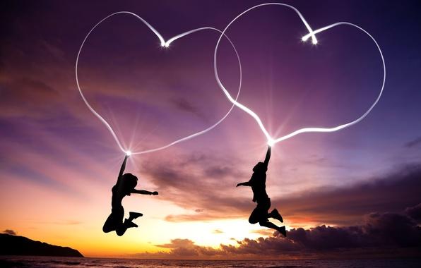 Picture girl, love, landscape, jump, heart, girl, love, guy, landscape, jump, boy, hearts