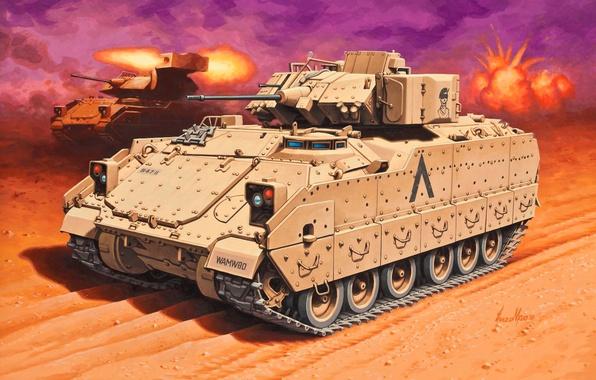 Picture machine, gun, art, guns, Fighting, landing, combat, under, American, caliber, Bradley, M240, The crew, Vehicle, …