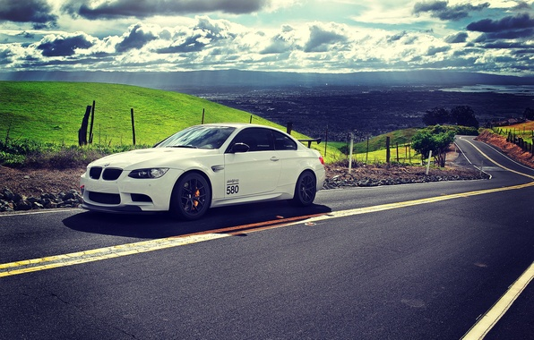Picture clouds, tuning, Road, BMW, White, E92