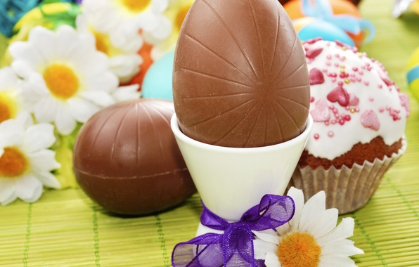 Picture photo, Chocolate, Chamomile, Easter, Eggs, Holiday, Food, Bow