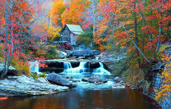 Picture autumn, forest, trees, stones, waterfall, house, USA, river, Babcock State Park