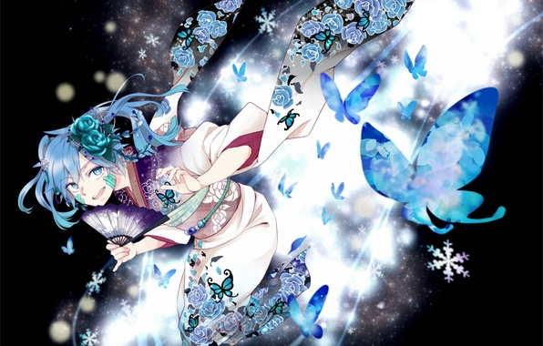 Picture girl, butterfly, flowers, roses, anime, fan, art, kimono, kagerou project, ene, Mekakucity Actors, maiori 00